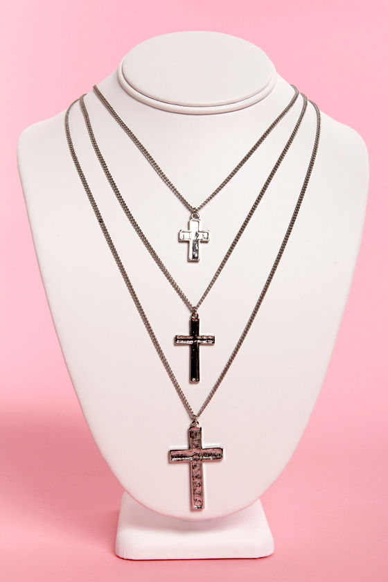 Triple Play Silver Cross Layered Necklace at Lulus.com!