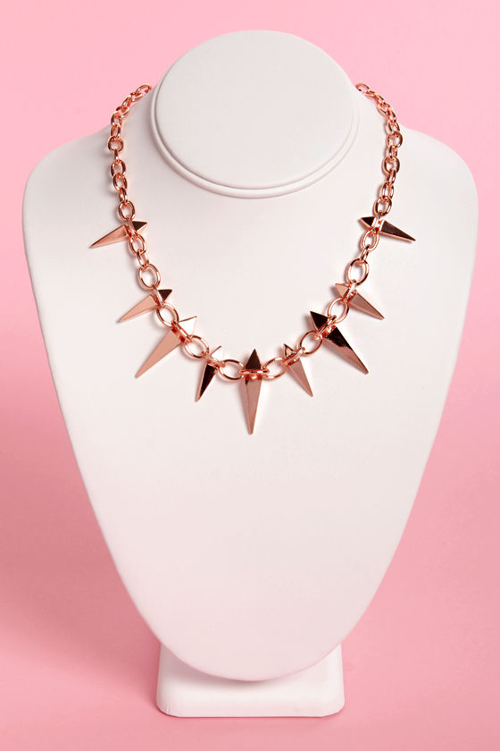 Stake House Rose Gold Spike Necklace at Lulus.com!