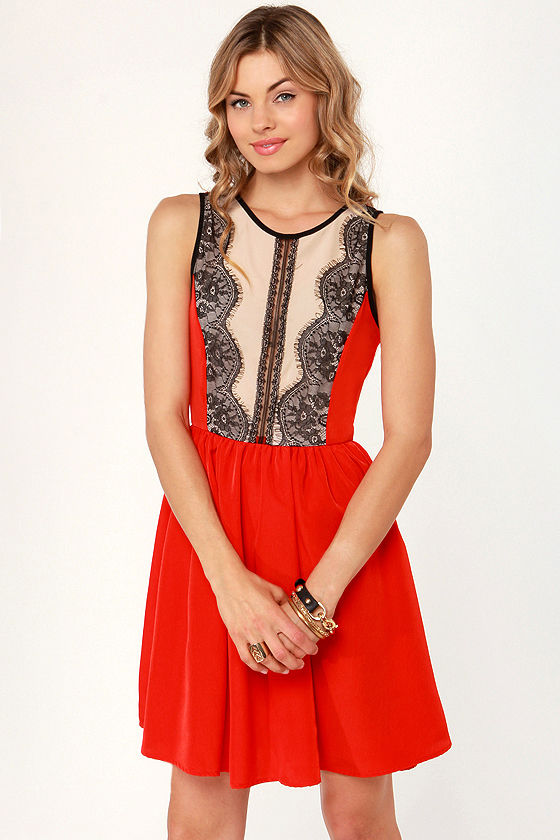 Dance Hall Days Red Lace Dress at Lulus.com!