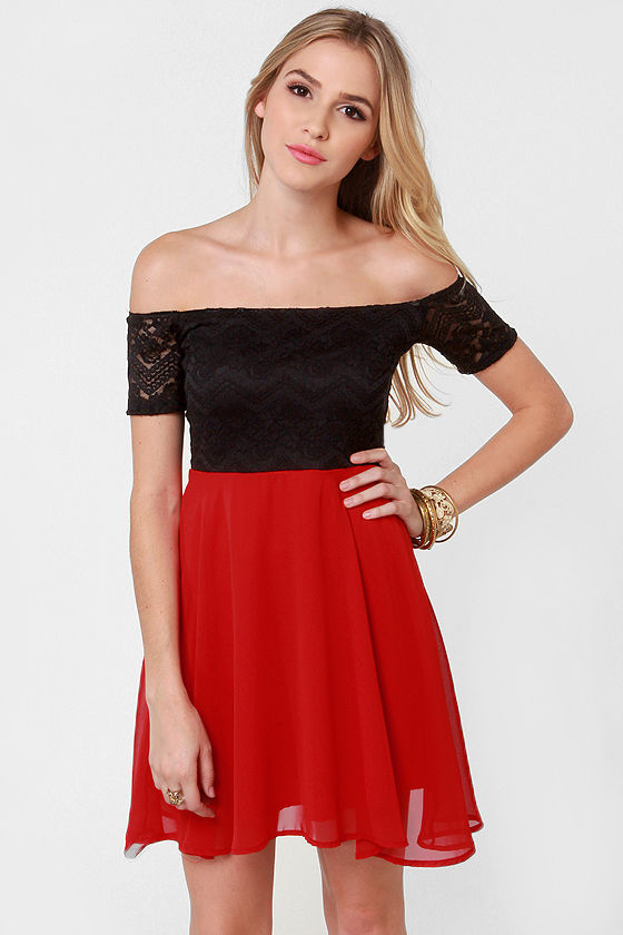 Flare for the Chromatic Red and Black Lace Dress at Lulus.com!