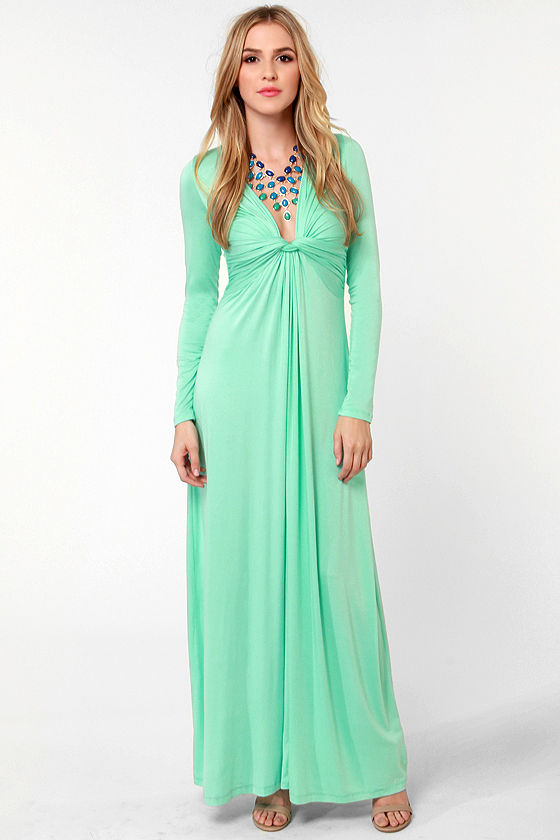 Cute Mint Green Dress - Maxi Dress - Long Sleeve Dress - $40.00