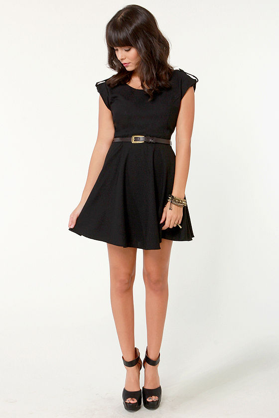 Oh, What a Night Belted Black Dress at Lulus.com!