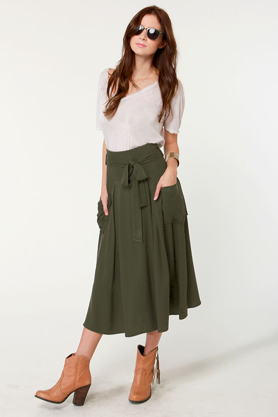 Cute Olive Green Skirt - Midi Skirt - $44.50