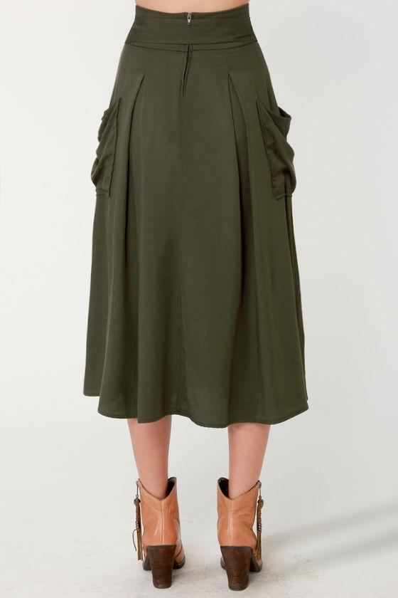 olive green skirt midi skirt 44 50