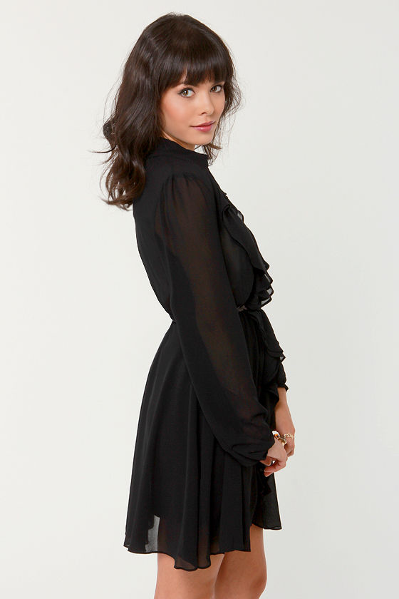 Thinking About You Belted Black Dress at Lulus.com!