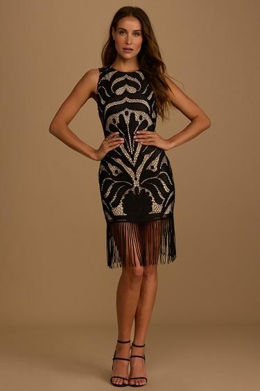 In My Vision Black Lace Fringe Mini Dress