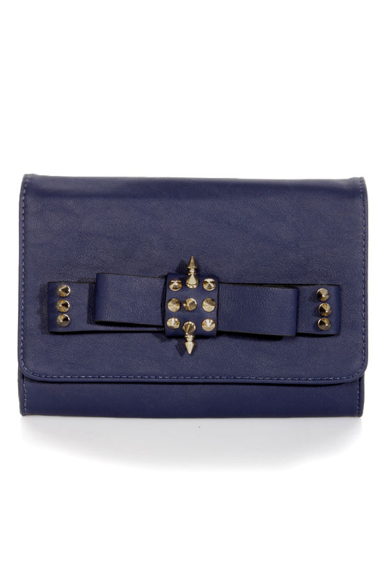 Sweet and Spiky Studded Navy Blue Clutch at Lulus.com!