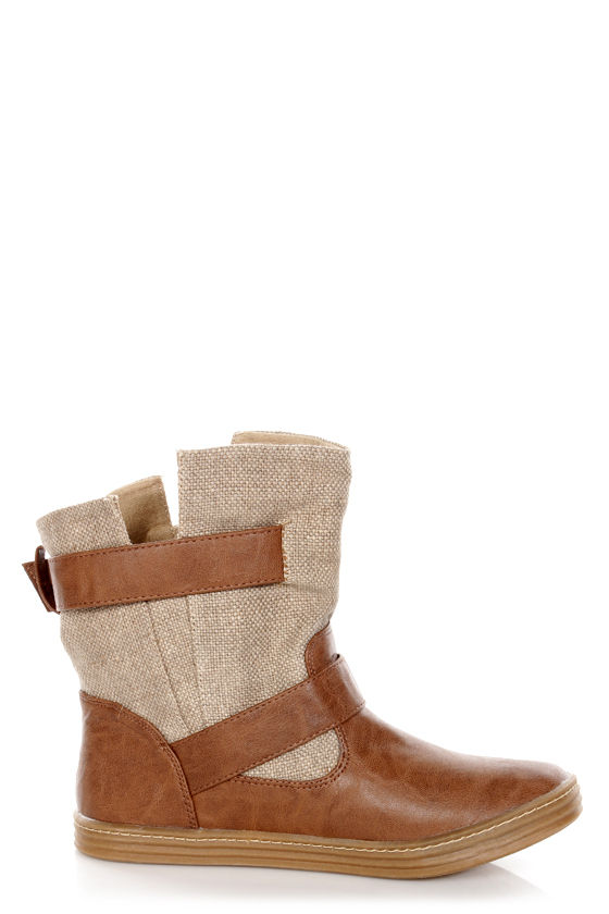 Blowfish Raako Bark Canvas and Faux Leather Slouchy Ankle Boots at Lulus.com!