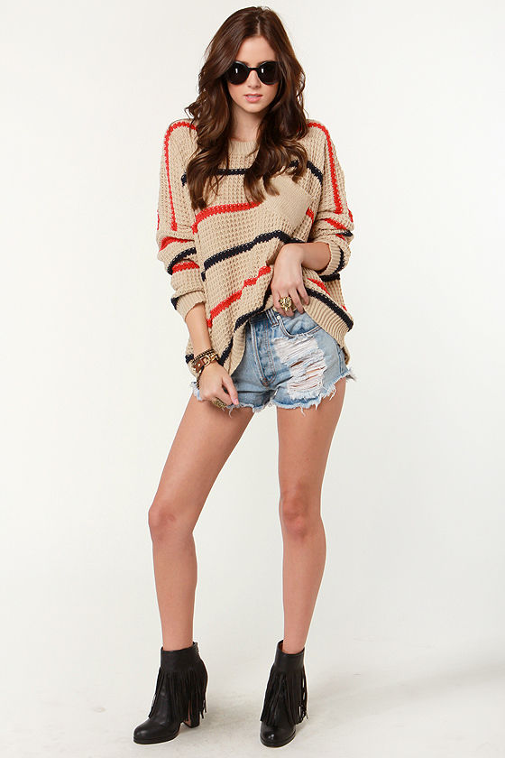 Audrey Brown Striped Sweater at Lulus.com!
