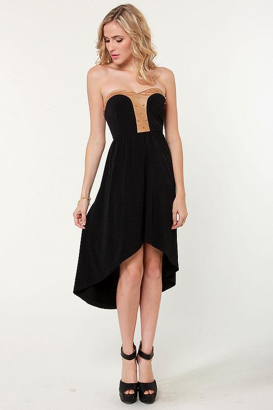 Ra Ra Renegade Strapless Studded Black Dress at Lulus.com!