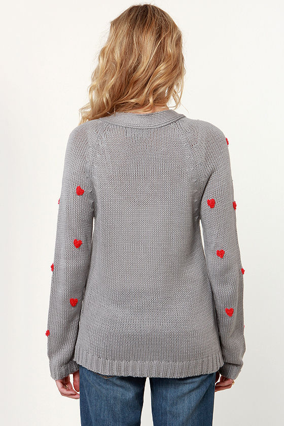 Heart-ist Statement Grey Cardigan Sweater at Lulus.com!