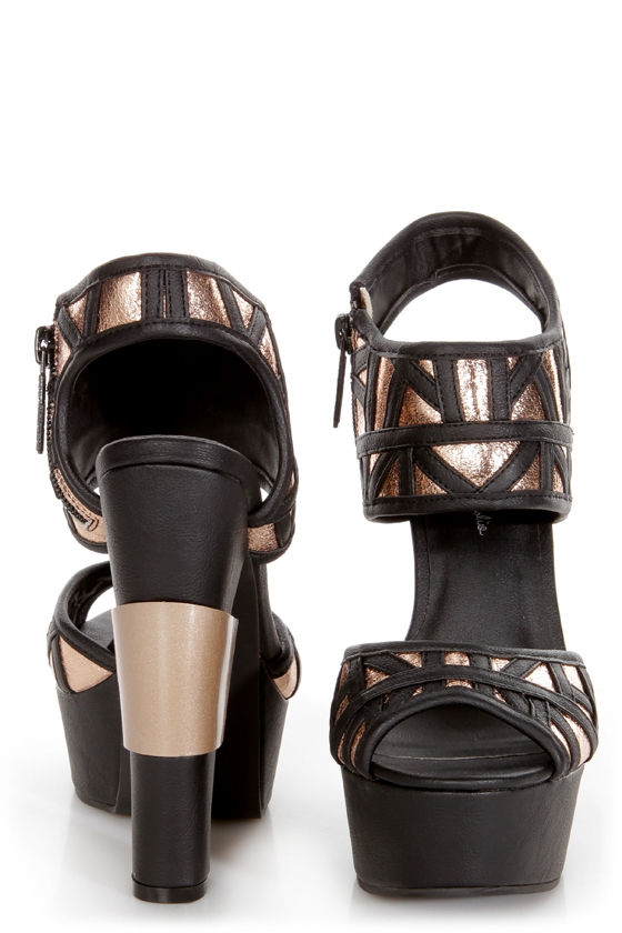 Michael Antonio Studio Tayson Black and Gold Platform Heels at Lulus.com!