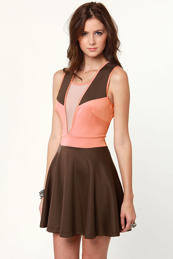 Object of My Confection Pink and Brown Dress at Lulus.com!