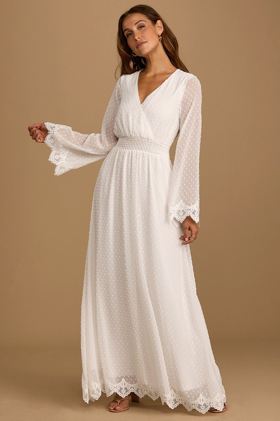 New Romantic White Swiss Dot Lace Long Sleeve Maxi Dress