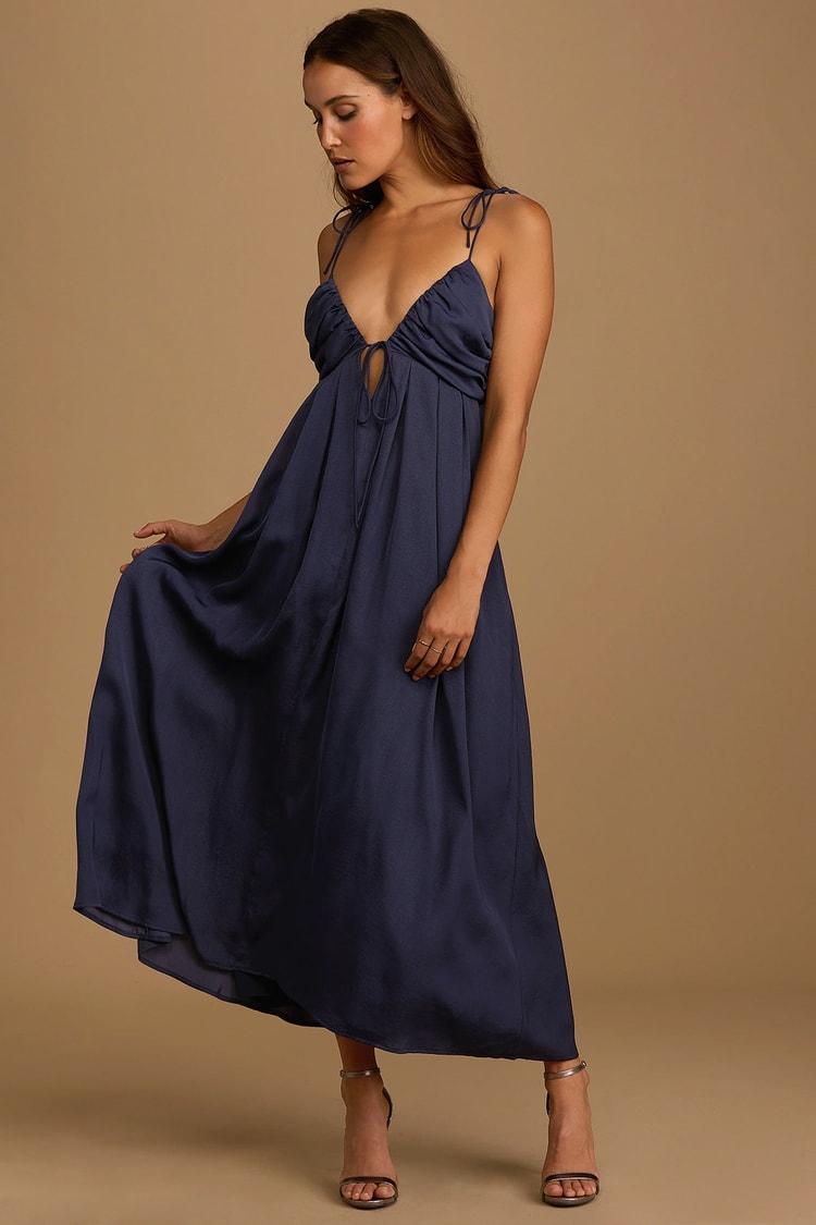 Confidence Check Navy Blue Satin Tie-Back Maxi Dress