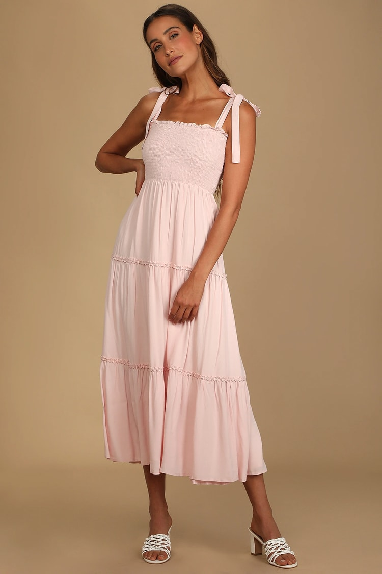 This Fine Feeling Light Pink Smocked Tie-Strap Maxi Dress