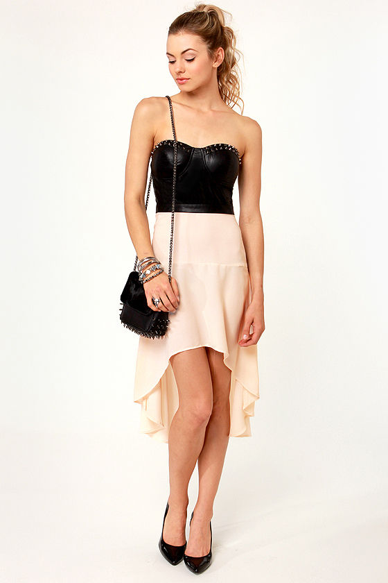The Spikes of Life Strapless Black and Cream Dress at Lulus.com!