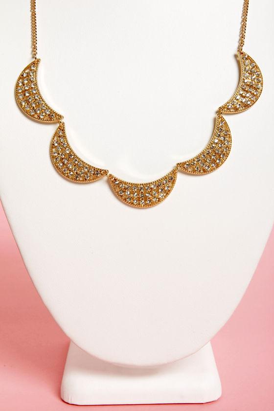 Crescent-tation Gold Rhinestone Necklace at Lulus.com!