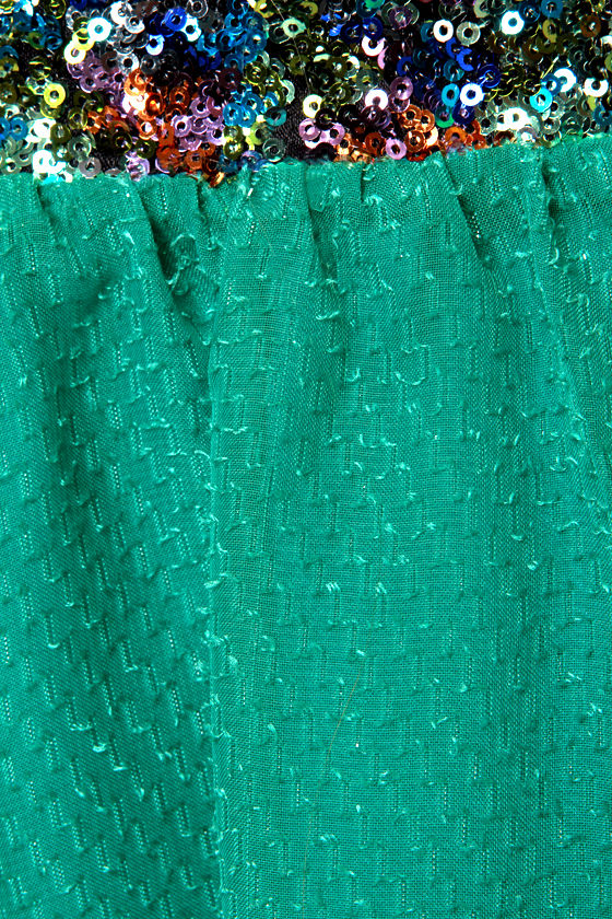 Teal Story Strapless Sequin Dress at Lulus.com!