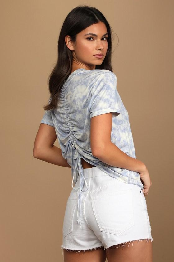 Lulus   Style Seeker Blue Tie-Dye Ruched Back Tee   Size Medium