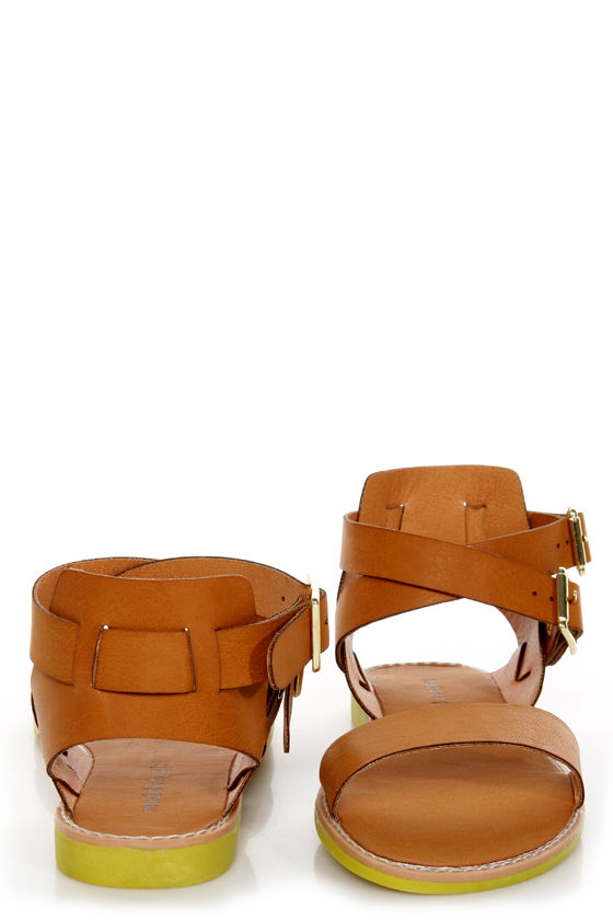 Madden Girl Romann Cognac Gladiator Sandals at Lulus.com!