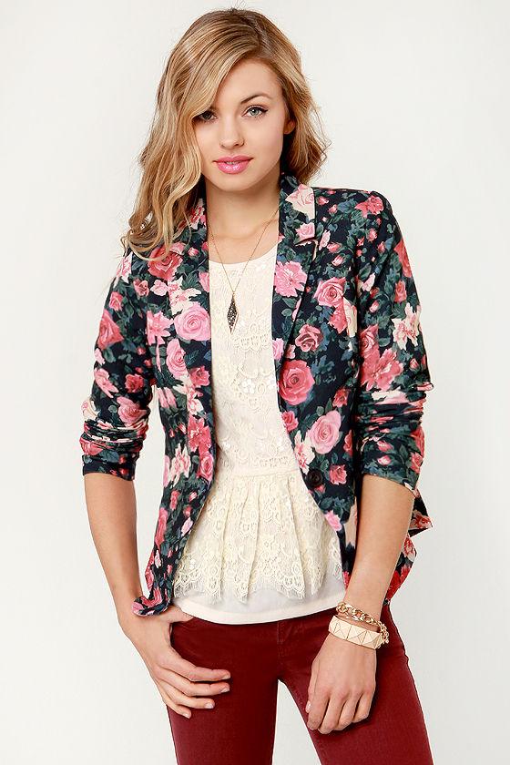 Pretty Floral Blazer - Print Blazer - Floral Print Jacket - $49.00