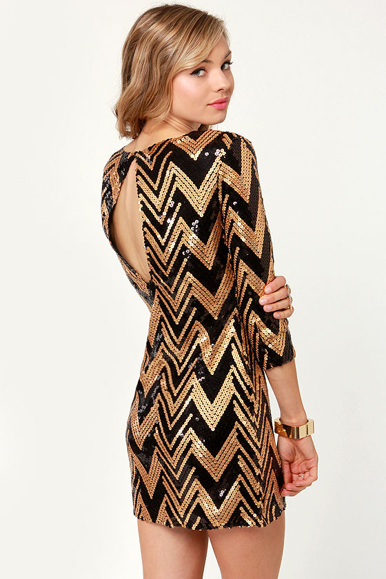 VIP List Black and Gold Sequin Dress at Lulus.com!