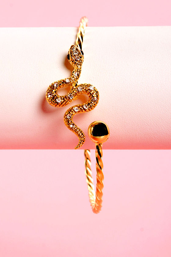Let's Snake a Deal Gold Bangle at Lulus.com!