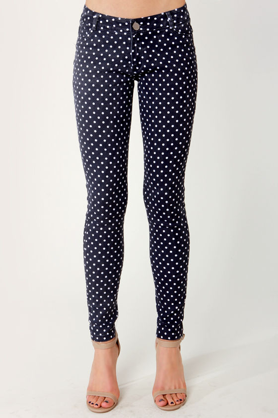 Dot Tamale Polka Dot Skinny Jeans at Lulus.com!