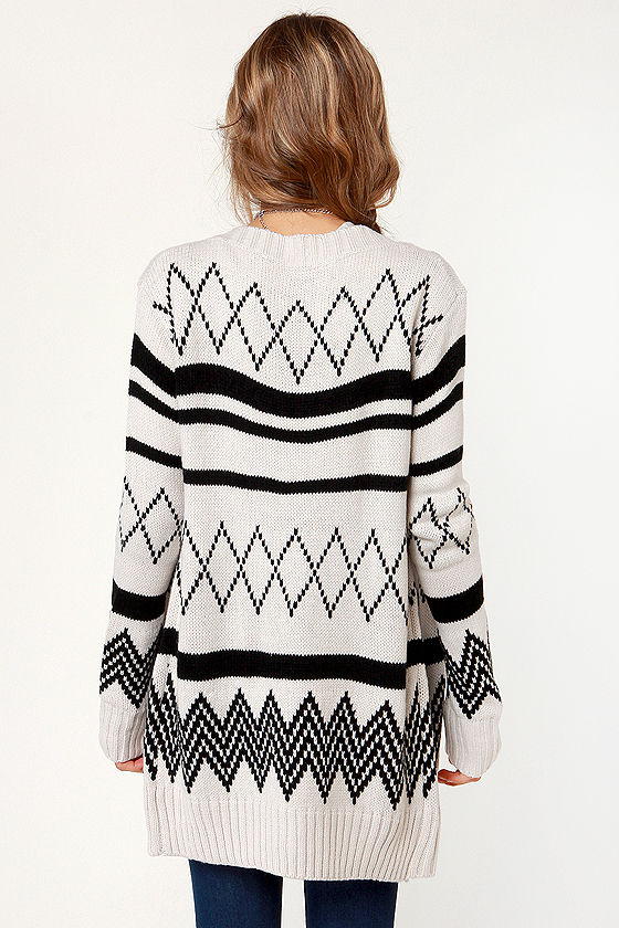 Off to College Black and Ivory Cardigan Sweater at Lulus.com!