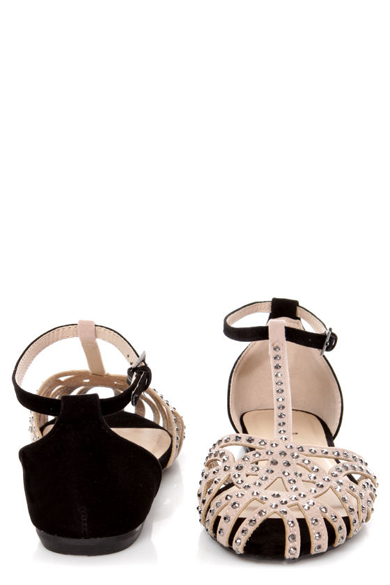 Bamboo Lynna 01 Nude and Black Rhinestone Studded Strappy Flats at Lulus.com!