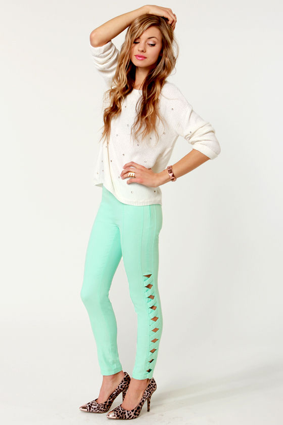 Peripheral Perfection Mint Green Cutout Cropped Pants at Lulus.com!