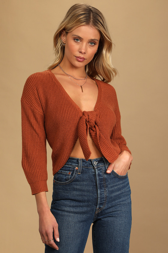 Say Something Sweet Brown Knit Tie-Front Sweater