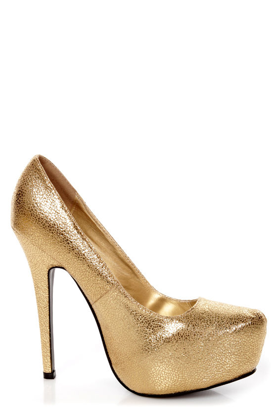 Elegant 2 Gold Metallic Platform Pumps - $32.00