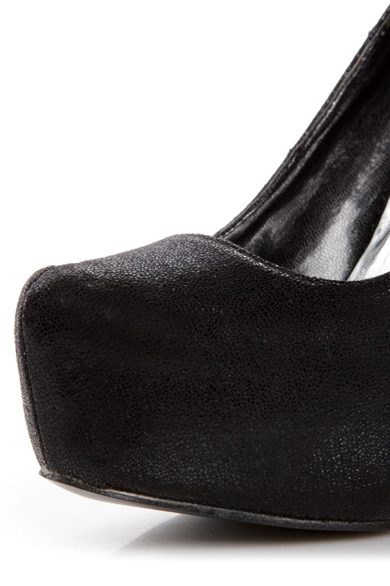 Elegant 2 Black Crinkled Platform Pumps at Lulus.com!