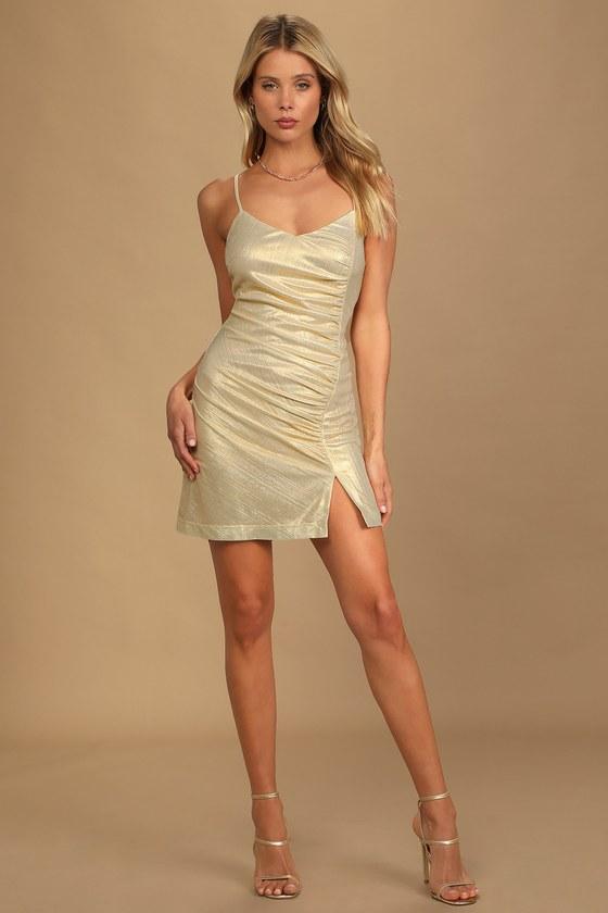 Celebration Season Gold Metallic Ruched Bodycon Mini Dress