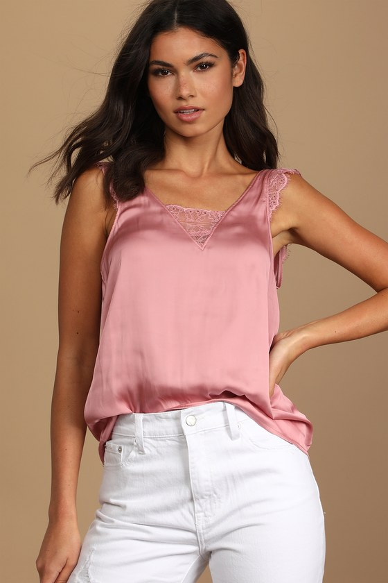Lulus   Take You Out Rose Pink Satin Lace Button-Back Tank Top   Size Medium   100% Polyester