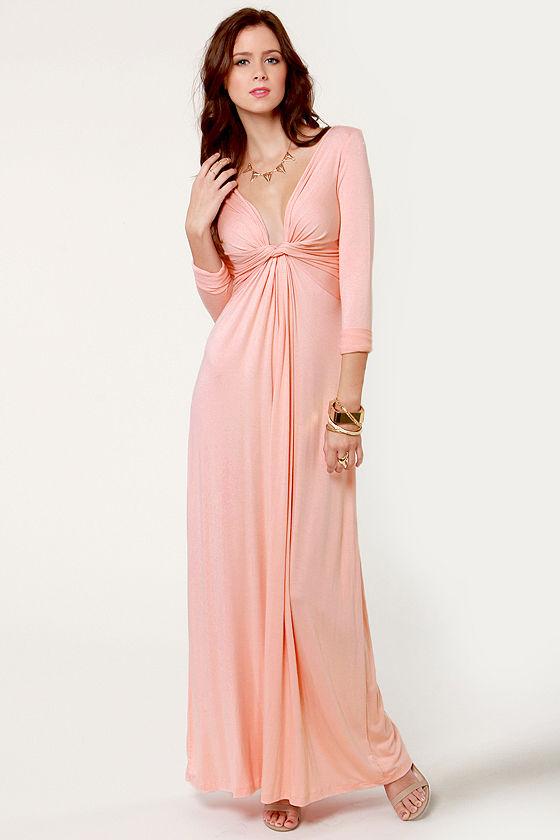 Cute Pink Dress Maxi Dress Long Sleeve Dress 40 00