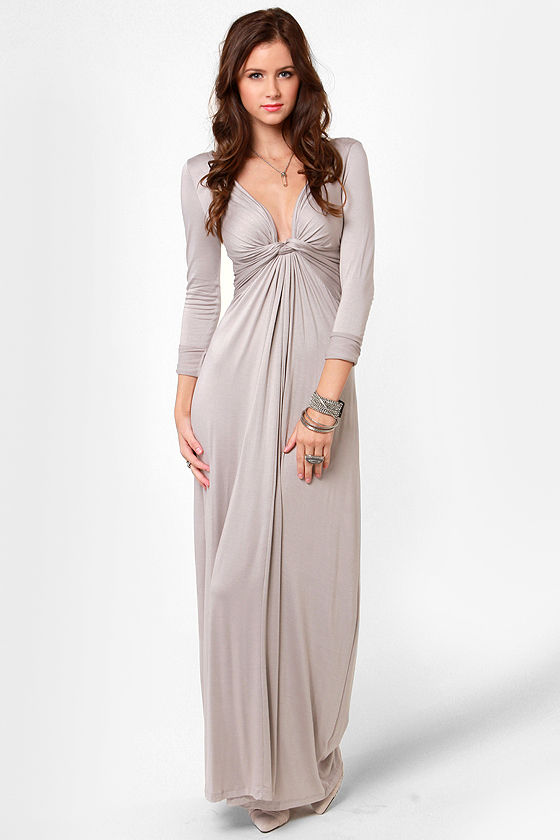 Cute Light Grey Dress - Maxi Dress - Long Sleeve Dress - $40.00