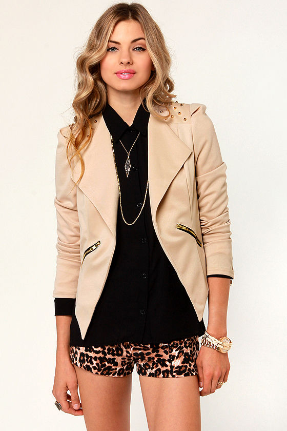 Master of Stud-elty Studded Beige Blazer at Lulus.com!