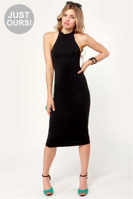 Sexy Black Dress - Midi Dress - Halter Dress - $41.00