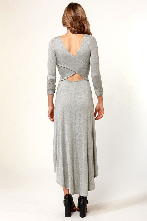 For the Longest Time Backless Heather Grey Dress at Lulus.com!