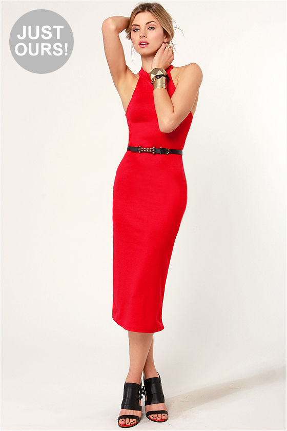 LULUS Exclusive Body-Con Artist Red Halter Dress at Lulus.com!
