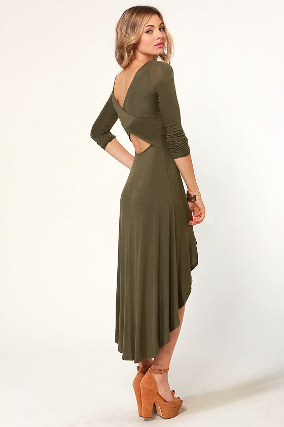 For the Longest Time Backless Olive Green Dress at Lulus.com!