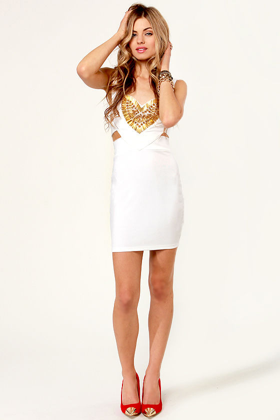 Exceeding Ex-Spike-tations Studded White Dress at Lulus.com!