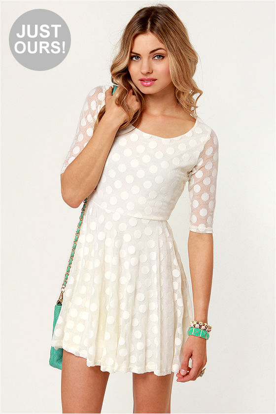 LULUS Exclusive Duke of Twirl Cream Polka Dot Lace Dress at Lulus.com!