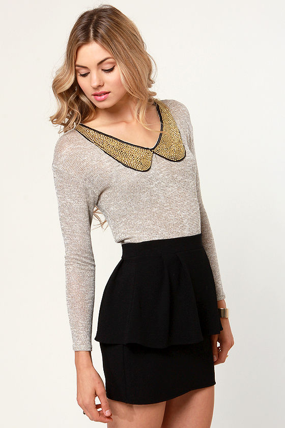Collar-ing Book Beaded Gold Top at Lulus.com!