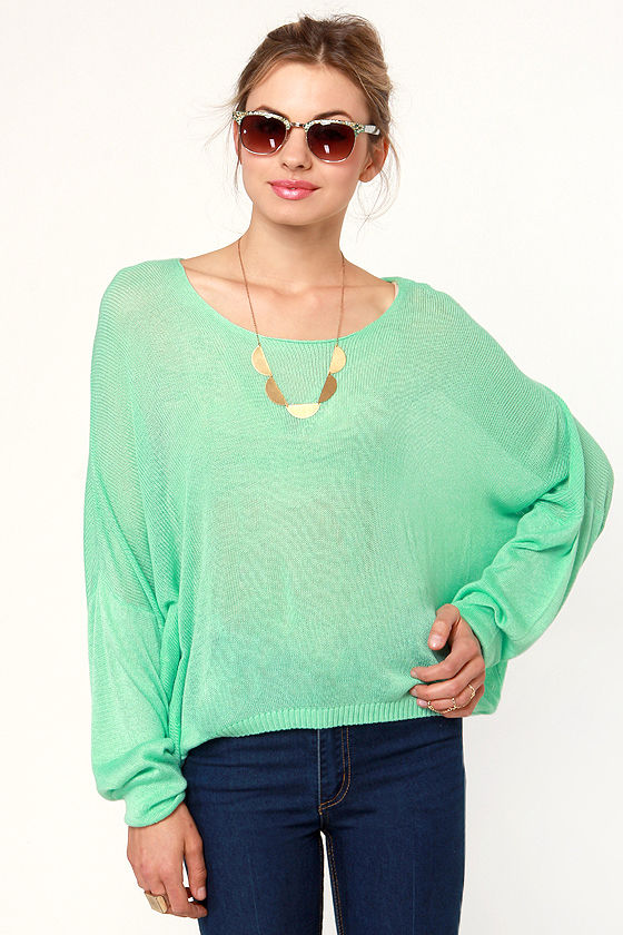 Valley of the Dolman Sheer Mint Green Sweater at Lulus.com!