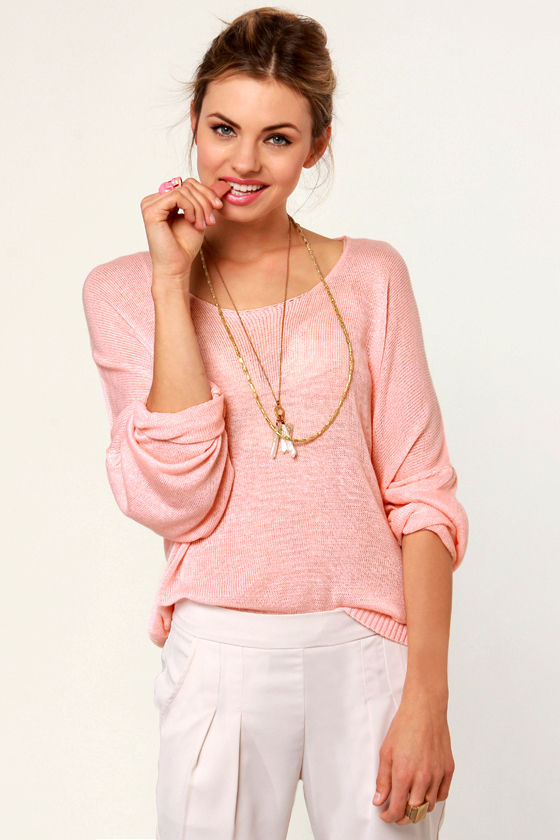 Pretty Light Pink Sweater - Oversized Sweater - Dolman Sweater ...