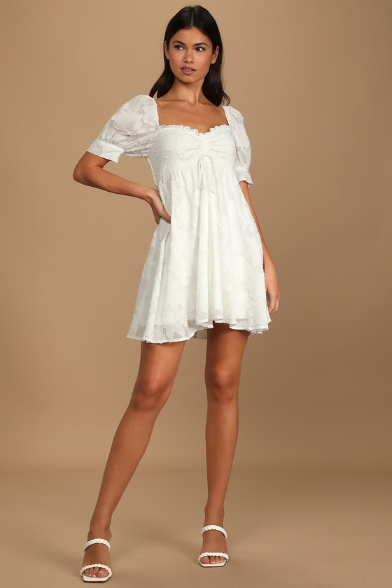 Never Forget Me White Floral Ruched Babydoll Mini Dress
